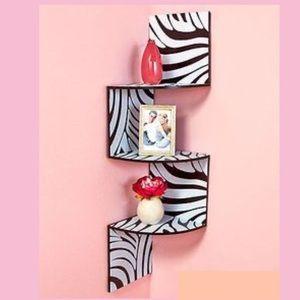 Wooden Zebra Print Corner Shelf